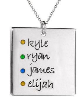 4 Names Square Pendant with Stones