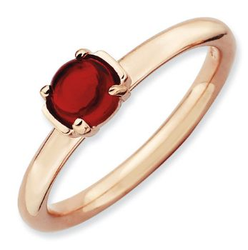 Picture of Silver & 18K Rose Gold Plated Cabochon Garnet stone