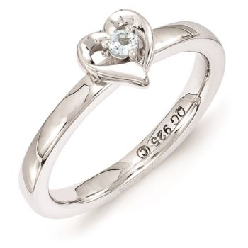 Picture of Silver Heart Ring Aquamarine Birthstone
