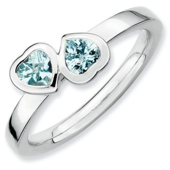 Picture of Silver Ring 2 Heart Aquamarine stones