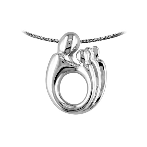 Mother three children pendant 14k white gold aloadofball Choice Image