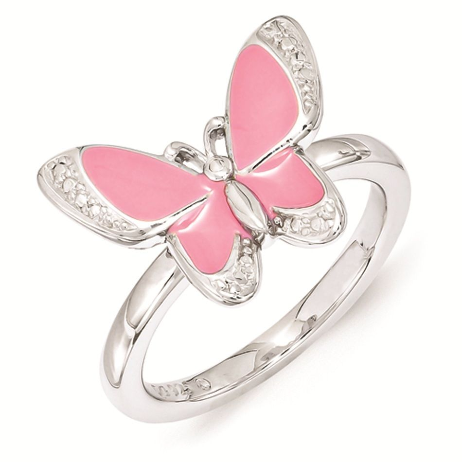 Silver Butterfly Ring Pink Enameled White CZ