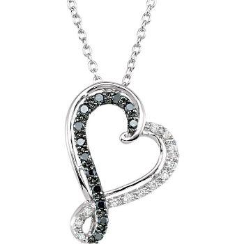 Picture of Black & White Diamond Heart Silver Necklace