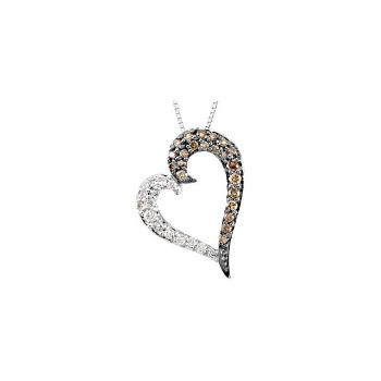Picture of Brown & White Diamond Heart Necklace