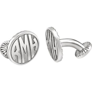 picture of 165 mm 3 letter block monogram cuff links