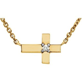 """Picture of 14K Gold .01 CTW Diamond Cross 18"""" Necklace"""