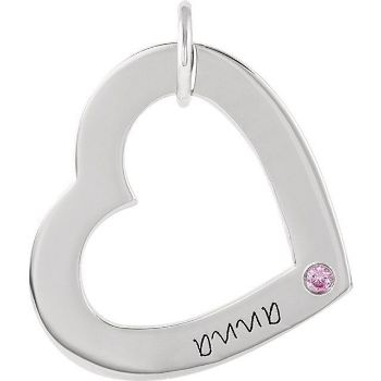 Picture of 1 Name Engravable Small Heart Loop with Stone