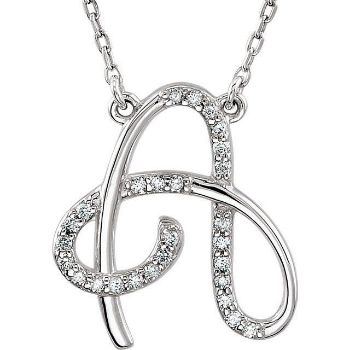 """Picture of A to Z Script Diamond Initials 17"""" Necklace"""